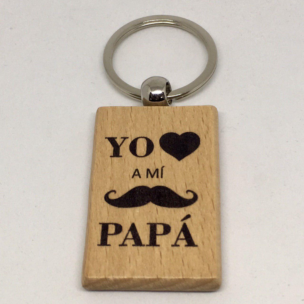 "Llavero de madera""yo amo a mi papá"""